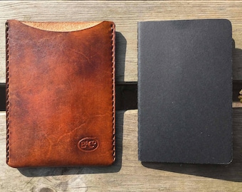Leather handmade notebook sleeve for Moleskine notebook in tan.