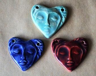 3 Sweet Ceramic Meditation Face Heart Pendant Beads in 3 unique glazes Serene Yoga Goddess