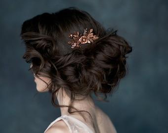 Antique Rose Gold Flower Hair Comb, Bridal Hair Comb, Copper Headpiece, Gold Bridal Hairpiece, Silver Wedding Accessory, Leaf Hair Comb ELSA