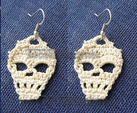 Pdf Crochet Skull Pattern Skull Earrings Tutorial Diagrams