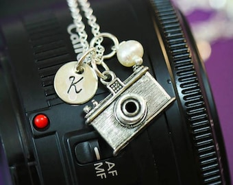 Personalized Camera Gift • Photographer Necklace Camera Little Charm Camera Dainty • Photographer Jewelry Camera Small Initial