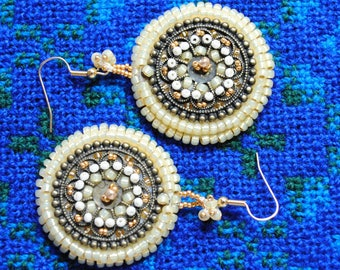 Beautiful Gold & Pearl Beaded Peyote Earrings With Faux Bronze Cabochons - Perfect For A Wedding