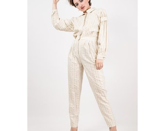 Vintage jumpsuit / 1980s Gold and white vertical stripe coveralls / Loose fit long sleeved / Boiler suit / Rayon and Lurex / S M