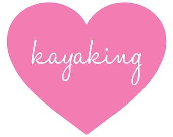 Kayaking Heart Vinyl Graphic FREE SHIPPING