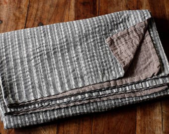 Block Print Indigo Dyed Kantha Bed Cover