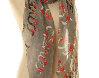Love Alphabet Scarf | Love Infinity Scarf | Love Scarf | Valentine's Gift | Girlfriend's Scarf | Gifts For Her | Anniversary Gift S-150