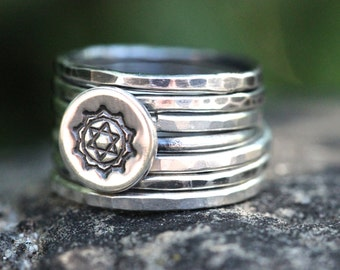 Sterling Silver Ring Sterling Silver Stacking Rings Heart Chakra Ring Stackable Rings Yoga Ring Hindu Ring  Yoga Jewelry Anahata Ring
