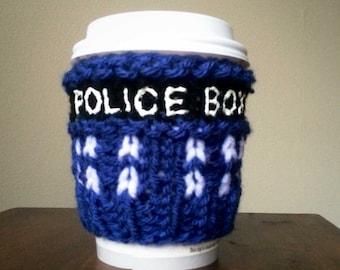 Tardis inspired hand knit mug cozy