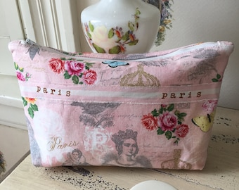 Small Purse, Cosmetic Bag, Ladies Clutch, Small Fabric Purse, Paris Fabric Purse, Pink Clutch, Mother's Day Gift, Paris-inspired Clutch