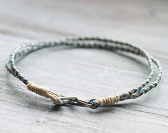 Men's Friendship Bracelet, Cotton Cord Bracelet for Men, Mens Bracelet, Double wrap bracelet