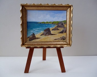 """A one 12th scale miniature """"The Cornish Coast, Bedruthan Steps"""".- Original Acrylic Painting"""