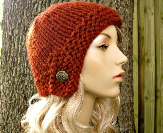 Knit Hat Womens Hat - Cloche Hat in Rust Orange Knit Hat - Burnt Orange Hat Burnt Orange Beanie Womens Accessories Winter Hat
