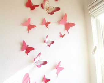 30 3D Wall Butterflies, Paper, Wall Decor, 3D,Pink, Red, Pattern, Nursery, Baby, Wedding Decor, Shower, Cardstock