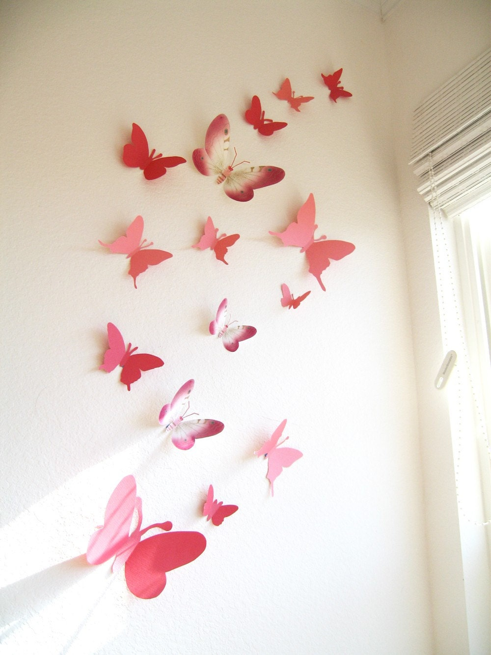 30 3D Wall Butterflies Paper Wall Decor 3DPink Red for Butterfly Wall Decor Pattern  303mzq