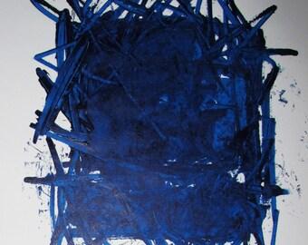 "Abstract Minimal Blue No.0865 Acrylic on Paper 24x18"" Original Modern Art Industrial"