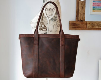 Leather tote bag, distressed leather purse, leather shopper, leather purse with zipper, leather handbag, tote bag