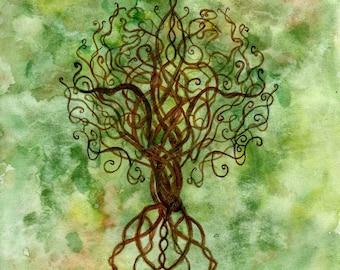 Celtic tree of life original watercolor