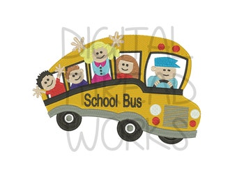 Back To School Bus with Students Kids Embroidery Design for 4x4 5x7 6x10 Inch Hoops. Instant Download. Back To School Item# SCHBUS
