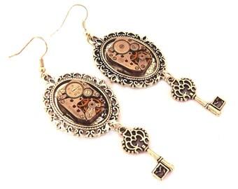Steampunk gear mechanism silver key earrings
