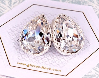 Wedding Bridesmaid Gift Bridal Earrings Bridesmaid Jewelry Clear White Swarovski Crystal Teardrop Ear Post Stud Earrings Sterling, E285