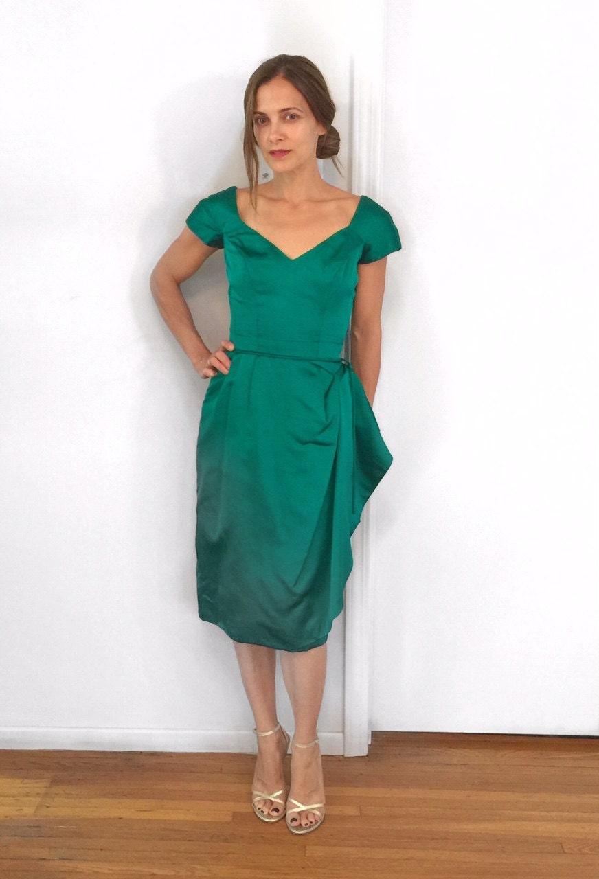 Jahrgang 1960 Helen Rose Smaragd Grün Satin Cocktail-Kleid