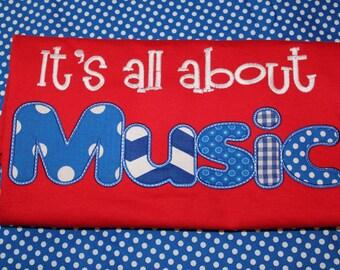 It's all about Music- school teacher shirt- can change wording- music teacher gift