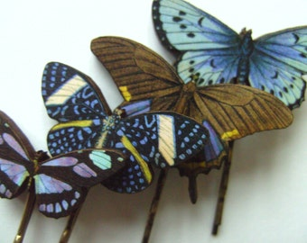 Lilac, brown and black, wooden butterflies , hair grips, bobby pins, set of 4, by NewellsJewels on etsy