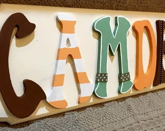 Personalized name sign, baby name sign, nursery decor, custom made name sign, childrens bedroom decor, baby boy name sign, wooden letters