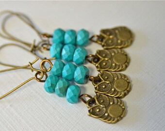 Teal Chinese Turquoise Earrings with Brass Owls . Teal Owl Earrings . Bridal Party Jewelry . Handmade in Maine