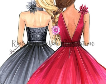 BFF Fashion illustration, Best friends art, Fashion illustration,Fashion print,fashion poster, Titled,Two is better than one