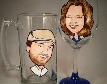 Bride and Groom Toasting Glasses - Fun - The Original Caricature Wine Glasses (tm) - Hand Painted  Wine Glasses
