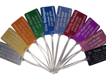 5 Aluminum Laser Engraved Luggage Tags FIVE Tags   **  10 colors & 50 Fonts