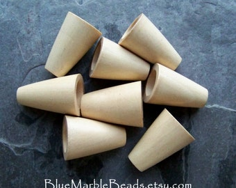 Imperfects, Not Fully Drilled, Large Wooden Bead, Wood Bead, Bead Cone, Large Bead Cap, Natural Wood, Unfinished Wood Beads, 8 Pieces