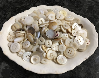 East Liverpool Potteries Co dish with vintage buttons