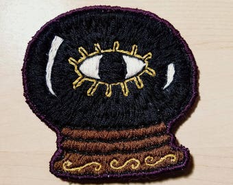 Hand Embroidered Crystal Ball Patch// sew on patch// eye patch