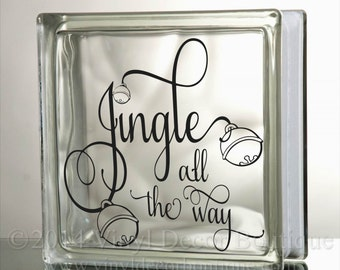 Jingle all the way Glass Block Decal Tile Mirrors DIY Decal for Christmas Glass Blocks Jingle all the way