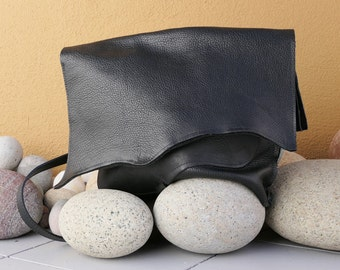 Black Leather Handbag - Handmade Purse