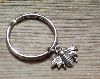 Silver Bee Keychain, Antiqued Silver Honeybee Key Ring, Nature Key Chain