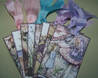 Alice in Wonderland Tags Arthur Rackham Tags Party Favors Wish Tags All Occasion Gift Tags Set of 8