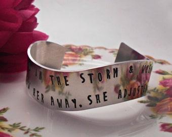 Elizabeth Edwards Bracelet. She stood in the storm. Hand Stamped Wide Wavy Quote Cuff Bracelet.