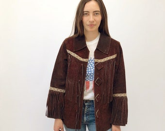 Bob Dylan Jacket // vintage 60s 1960s 70s 1970s brown suede boho country western hippie coat hipster leather hippy dress bohemian fringe S/M