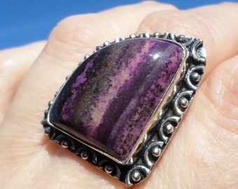 RING 925 sterling silver and dendritic Opal (BA53)