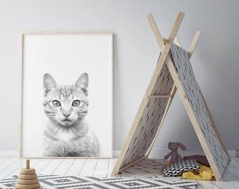 Cat Nursery Print, Baby Girl Wall Art, Cat Lover Gift, Girl Nursery Cat, Pet Print, Grey Cat Print, Animal Printables, Babies Room Poster