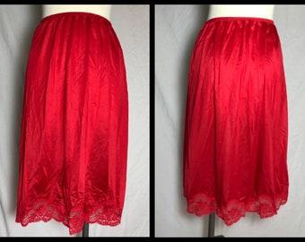 Olga True Red Stretch Nylon Half Slip with Lacy Hem in Midi Knee Length - Size Large