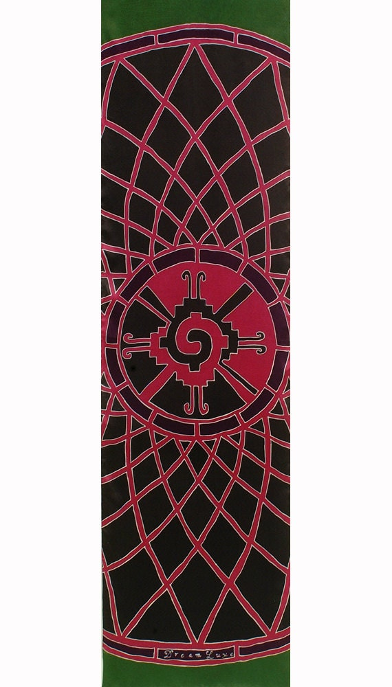 Silk scarf hand painted with Hunab Ku Maya sacred symbol mandala