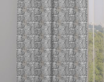 Tribal Marks Print Drapery Window Curtain Panel - White on Black - Free Shipping