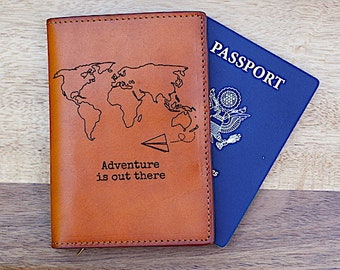 Adventure is out there passport cover wallet, Leather, Dual Double Passport Holder,  Passport Keeper, Personalized Passport, Groom, Husband