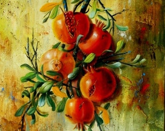 Pomegranates Still Life Painting, Original Oil painting on canvas by By Chris Art -Wall hanging  Size:11.8x19,7in 30x50cm