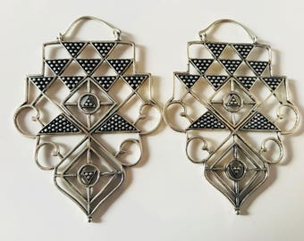 brass boho geometric earrings