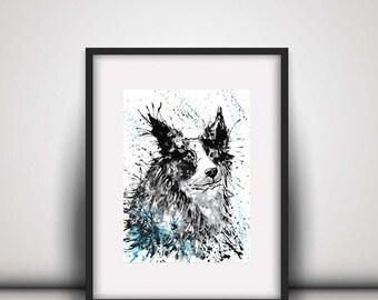 Giclee print, Border collie print, collie watercolour, sheepdog, watercolour art, collie illustration, border collie, black and white collie